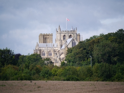 A zoom shot across the fields to Ripon Cathedral