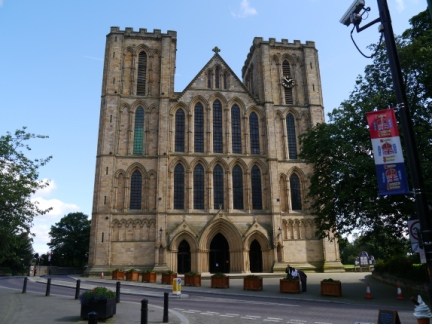 The front of Ripon Cathedral from the end of Kirkgate