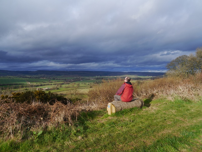 Enjoying the view from the log bench on Beacon Banks