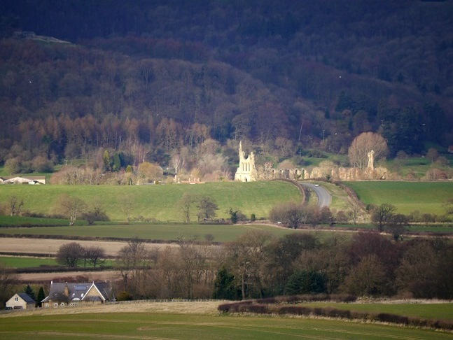 A close up shot of Byland Abbey from Beacon Banks