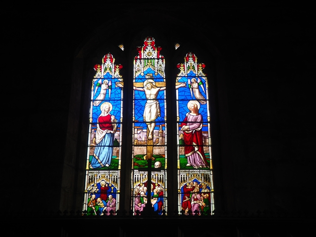 A stained glass window in St Cuthbert's Church