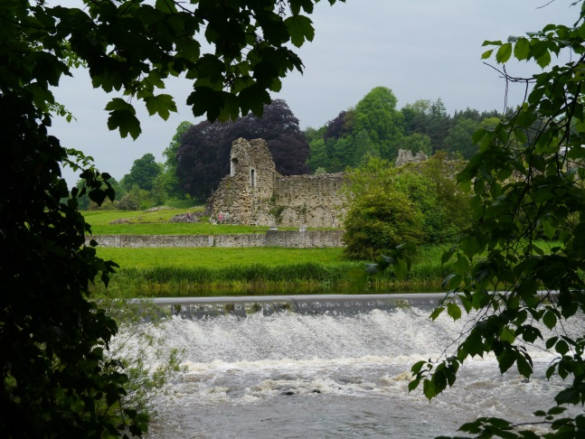 Looking across the weir to Kirkham Priory