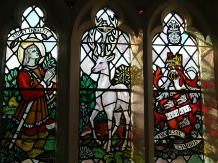 Stainglass of St Hubert and the Hart