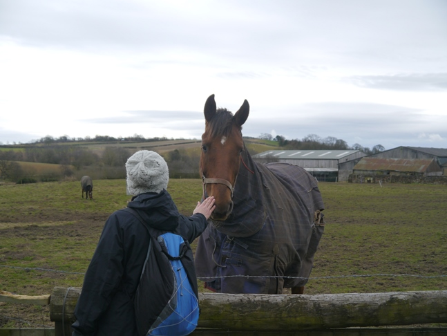 Sally making friends with a horse at Scackleton Low Moor Farm