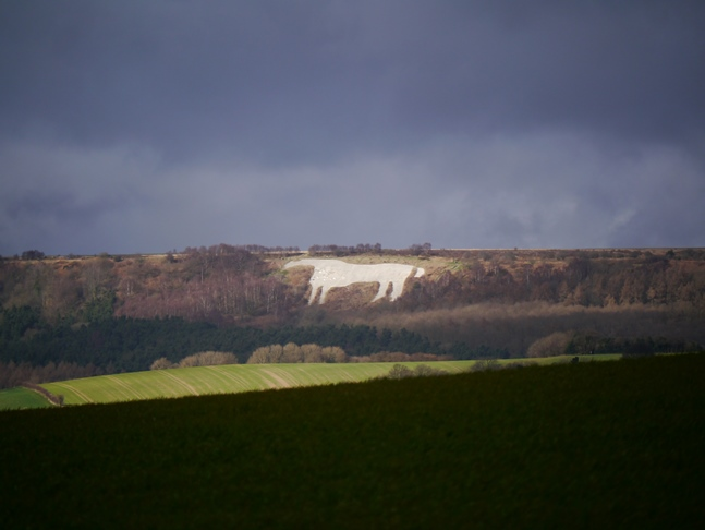A close up of the Kilburn White Horse