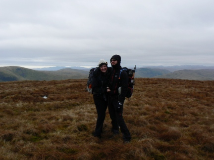 Matt and Laura on the unmarked summit of Blease Fell