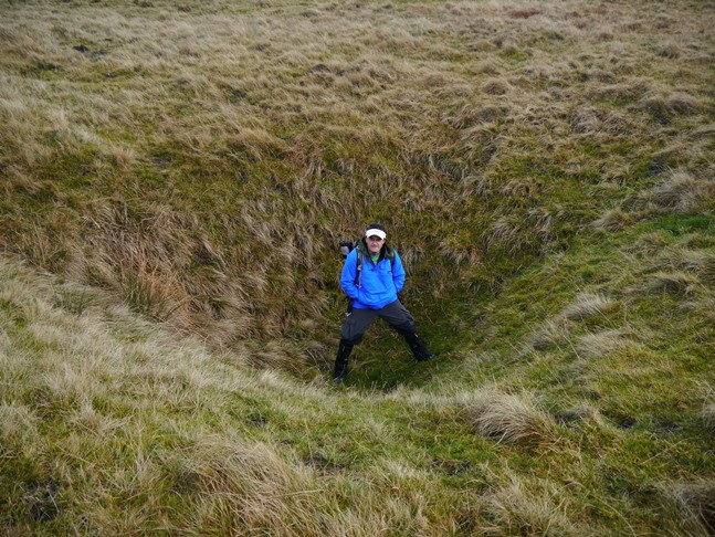 Wally in one of the shake holes on Ash Fell