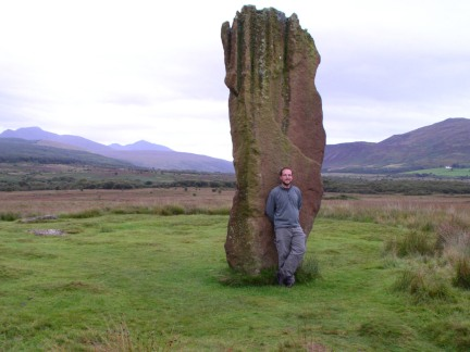 By the large solitary standing stone