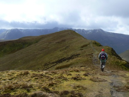 Nick approaching the top of Knott Rigg