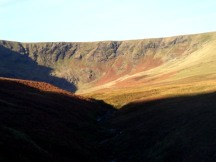 Looking along Bannerdale Beck to the rim of Bannerdale Crags