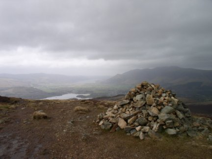 The northern cairn on the summit of Bleaberry Fell