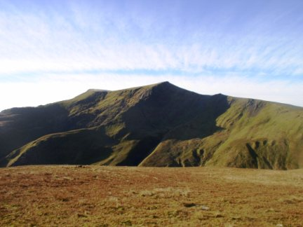 Blencathra dominates the summit of Bannerdale Crags