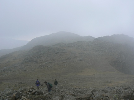 A brief glimpse of Bow Fell's North Top and Esk Pike
