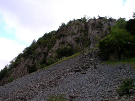 Looking up at Castle Crag