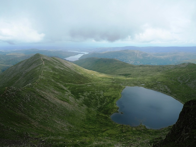 The classic view of Catstye Cam and Red Tarn from Helvellyn