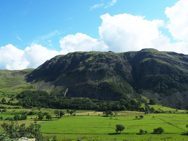 Looking across St John's in the Vale to the impressive crags of Clough Head