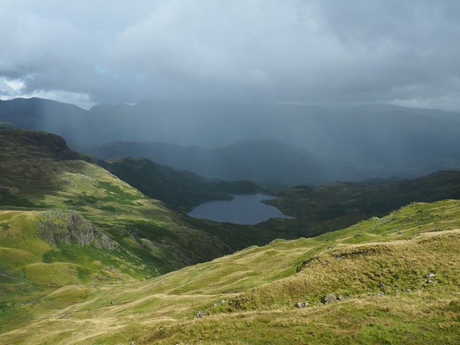 A shower passing over Easedale Tarn
