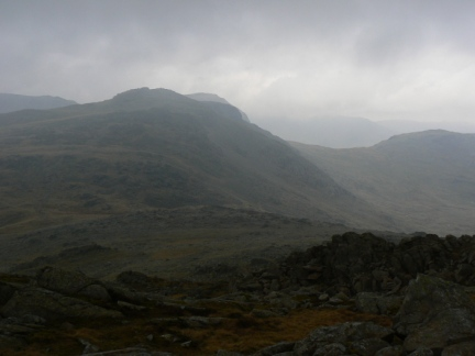 Esk Pike from the north top of Bow Fell