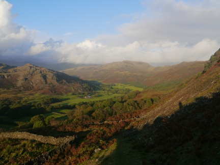 Evening sunshine over Eskdale