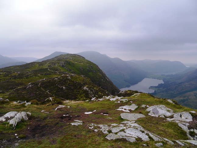 Looking back at Fleetwith Pike from Black Star, the top of Honister Crag