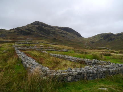 Hardknott Fort looking to Border End and Hardknott Pass