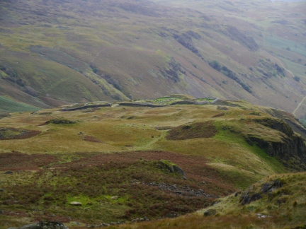 Looking back at Hardknott Fort