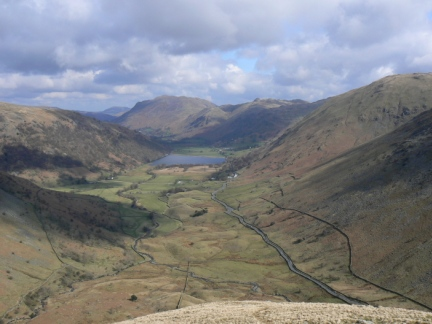 The wonderful view of the Hartsop valley from the climb up Middle Dodd