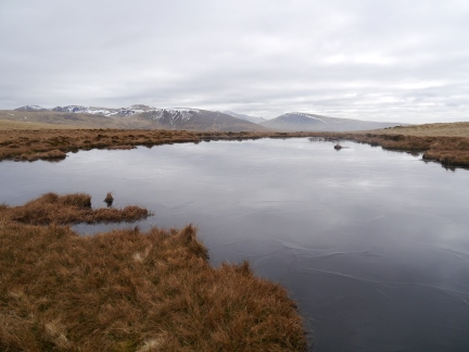 The small frozen tarn on Lank Rigg