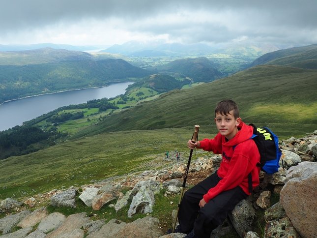 Liam enjoying a well earned break on the climb up Browncove Crags