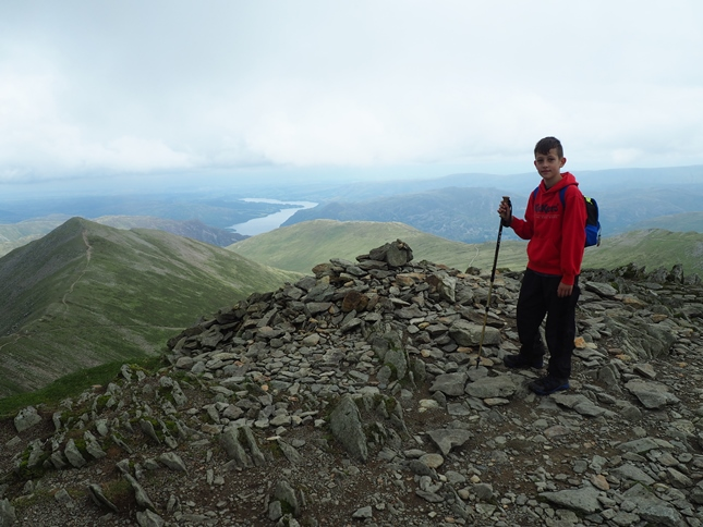 Liam on the summit of Helvellyn