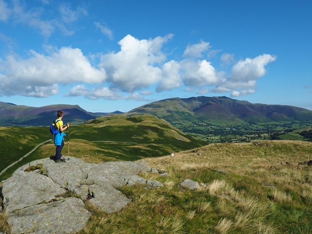 Liam looking towards the top of High Rigg