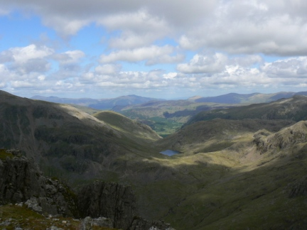 Looking across Sty Head towards Blencathra from Lingmell