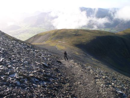 Lisa on the final climb on to Skiddaw