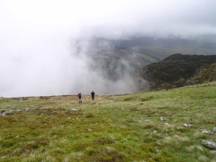 Lisa and Dave pursued by the encroaching hill fog