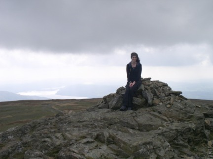 Lisa on the summit of Dove Crag