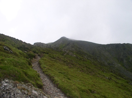 Looking up the path on Hall's Fell towards Narrow Edge