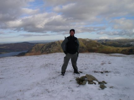 On the top of Birks with blue sky still over Ullswater