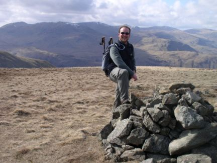 On the summit of Gray Crag