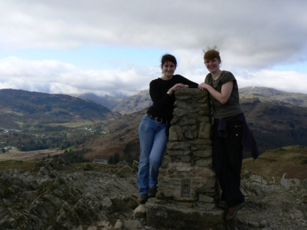 Lisa and Claire on the top of Loughrigg
