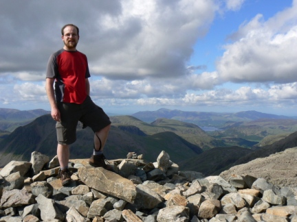 On the summit of Scafell Pike