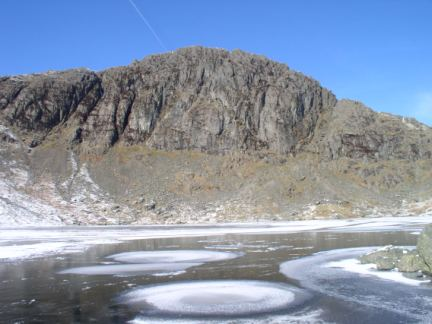 Pavey Ark and a frozen Stickle Tarn