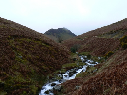 Looking up Rigg Beck towards Ard Crags