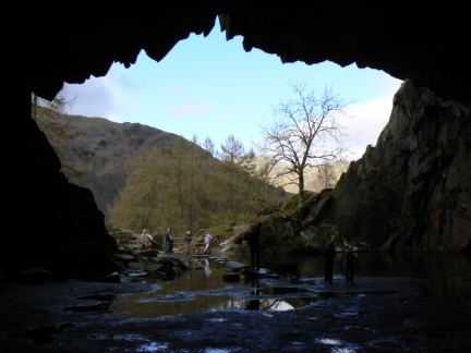 Looking out of the 'jaws' of Rydal Cave
