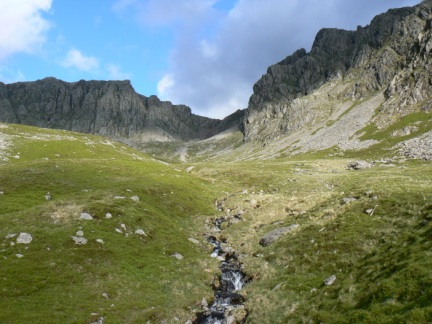 Looking back up to Scafell Crag and Pikes Crag