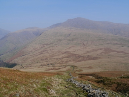 The wall descending Illgill Head with Scafell directly ahead