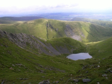 Looking down to Scales Tarn, Sharp Edge and Bannerdale Crags