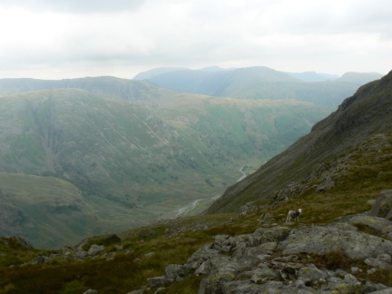 Looking down into the valley above Seathwaite