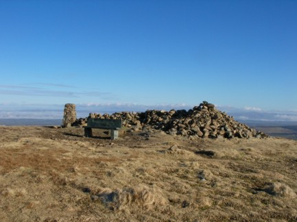 The bench, cairn and trigpoint on High Pike