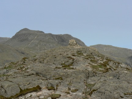 The top of Pike O'Blisco looking to Bow Fell