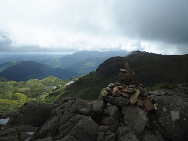 The top of Sergeant Man looking towards Pavey Ark and Harrison Stickle
